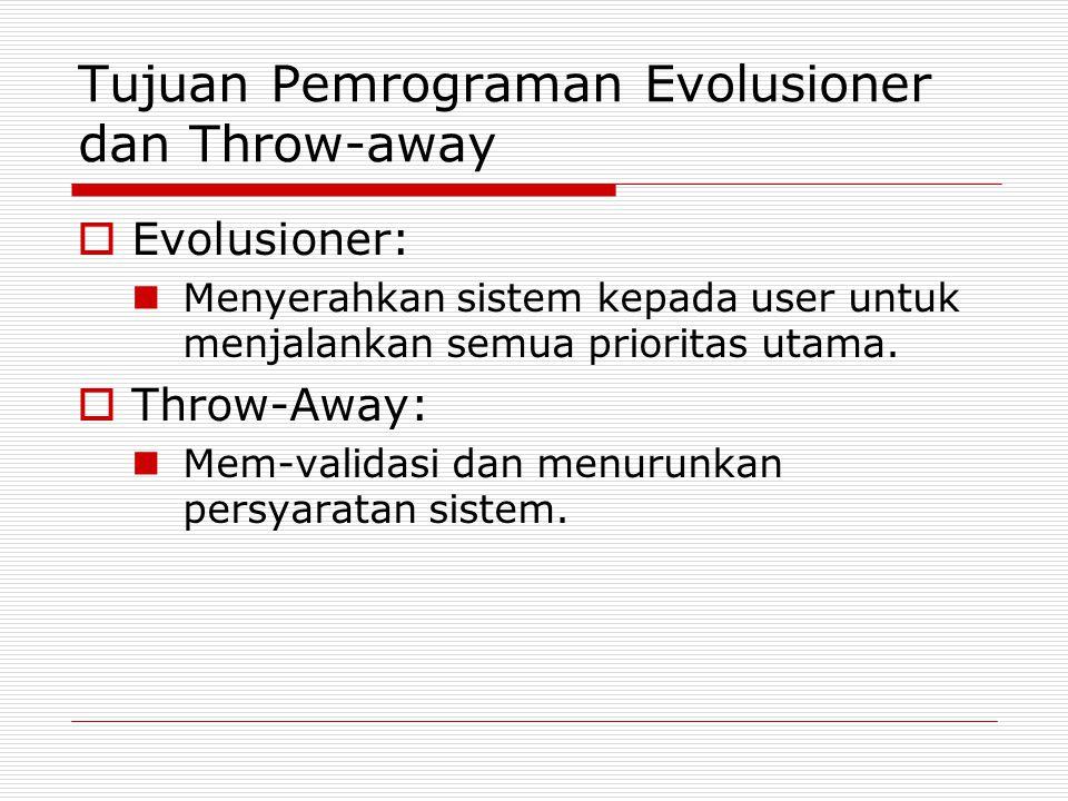 Tujuan Pemrograman Evolusioner dan Throw-away  Evolusioner: Menyerahkan sistem kepada user untuk menjalankan semua prioritas utama.  Throw-Away: Mem