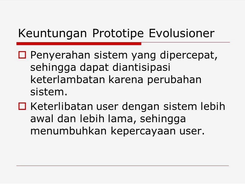 Keuntungan Prototipe Evolusioner  Penyerahan sistem yang dipercepat, sehingga dapat diantisipasi keterlambatan karena perubahan sistem.  Keterlibata