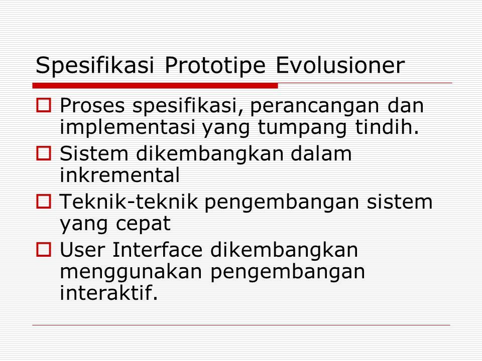 Spesifikasi Prototipe Evolusioner  Proses spesifikasi, perancangan dan implementasi yang tumpang tindih.  Sistem dikembangkan dalam inkremental  Te