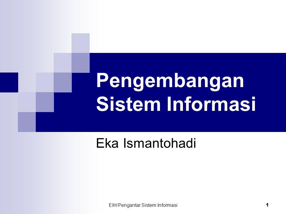 EIH/Pengantar Sistem Informasi 2 Pengembangan Sistem Dilakukan dengan menggunakan metodologi (suatu proses standar yang diikuti oleh organisasi untuk melaksanakan seluruh langkah yang diperlukan untuk menganalisa, merancang, mengimplementasikan, dan memelihara sistem informasi) Metodologi klasik yang digunakan dikenal dengan istilah SDLC (System Development Life Cycle)