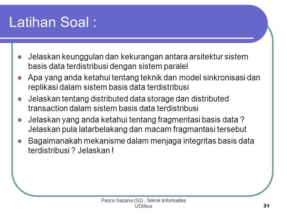 Pasca Sarjana (S2) - Teknik Informatika UDiNus 31 Latihan Soal : Jelaskan keunggulan dan kekurangan antara arsitektur sistem basis data terdistribusi
