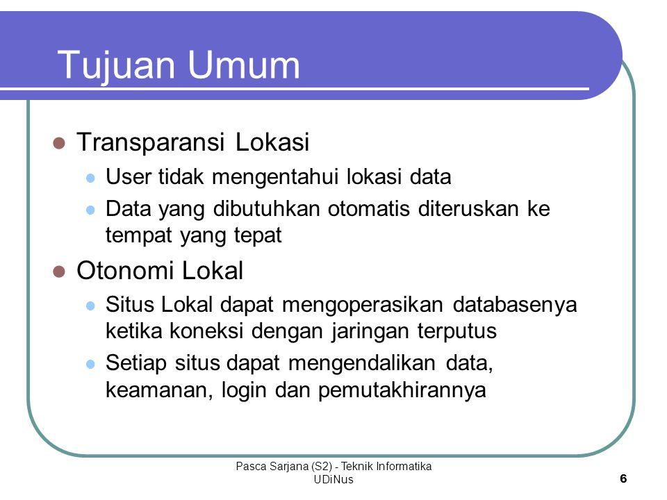 Pasca Sarjana (S2) - Teknik Informatika UDiNus 6 Tujuan Umum Transparansi Lokasi User tidak mengentahui lokasi data Data yang dibutuhkan otomatis dite