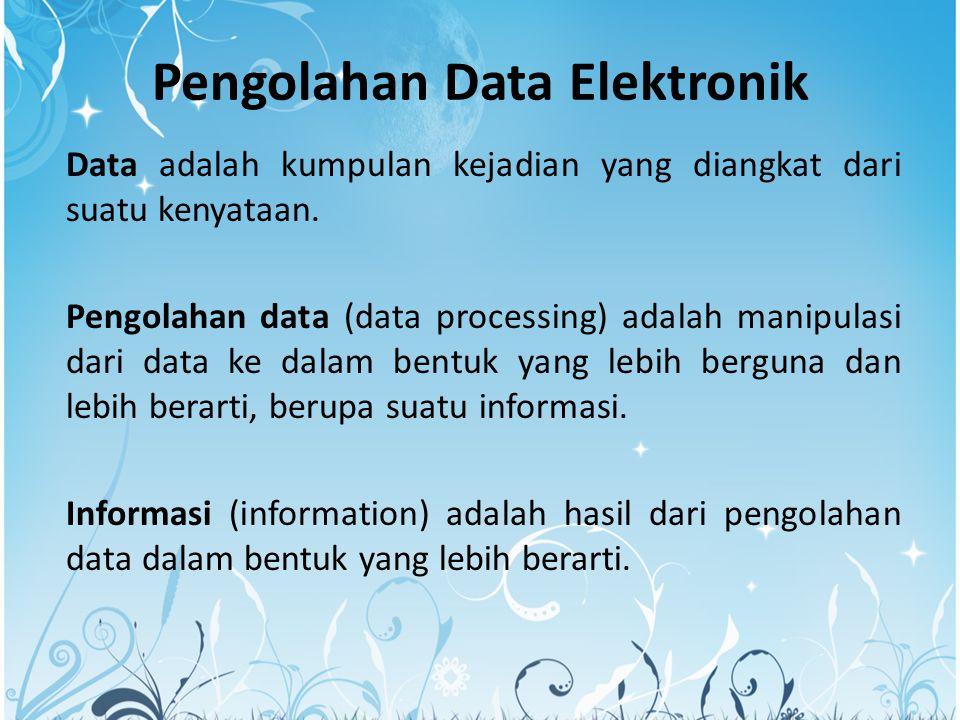 Pengolahan Data Elektronik Data adalah kumpulan kejadian yang diangkat dari suatu kenyataan.