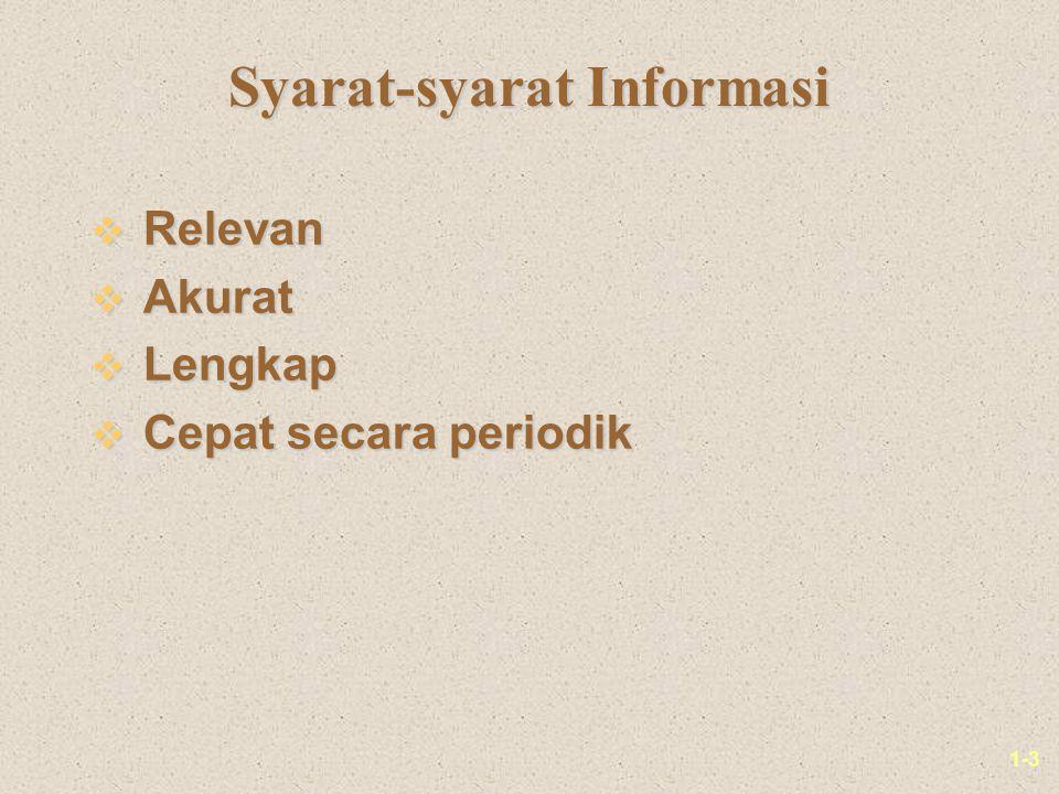 1-3 Syarat-syarat Informasi v Relevan v Akurat v Lengkap v Cepat secara periodik
