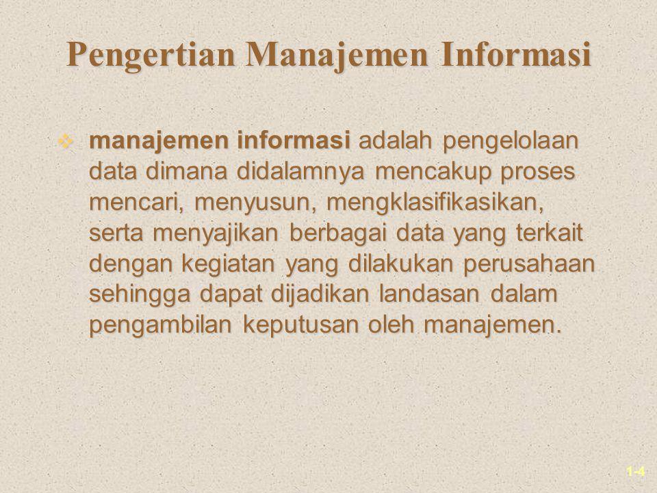 1-4 Pengertian Manajemen Informasi v manajemen informasi adalah pengelolaan data dimana didalamnya mencakup proses mencari, menyusun, mengklasifikasik