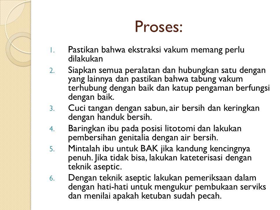 Proses: 1. Pastikan bahwa ekstraksi vakum memang perlu dilakukan 2. Siapkan semua peralatan dan hubungkan satu dengan yang lainnya dan pastikan bahwa