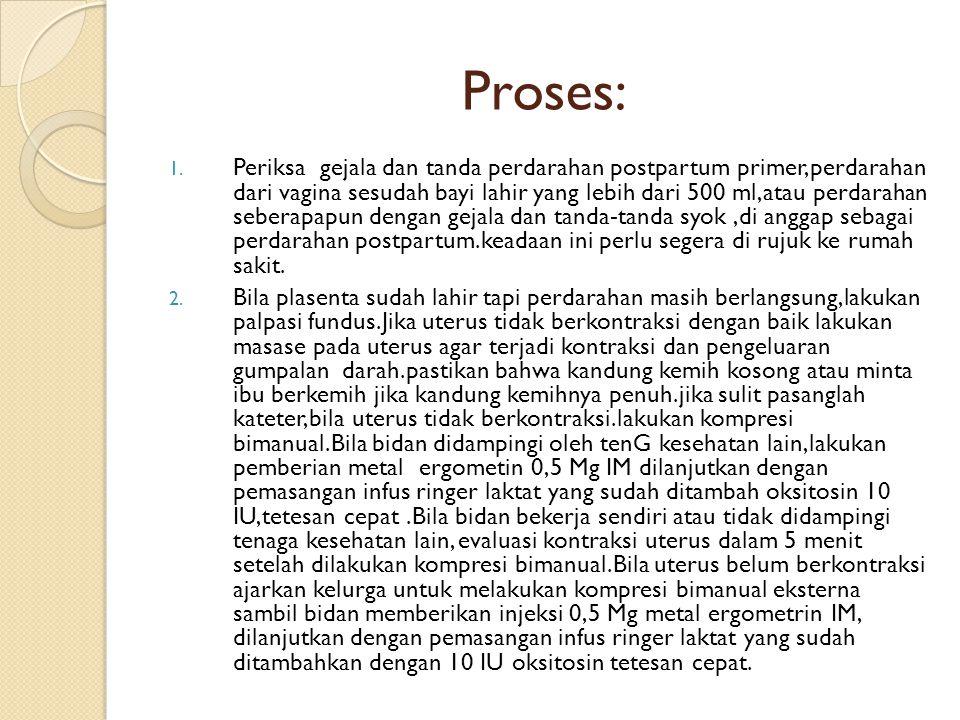 Proses: 1. Periksa gejala dan tanda perdarahan postpartum primer,perdarahan dari vagina sesudah bayi lahir yang lebih dari 500 ml,atau perdarahan sebe