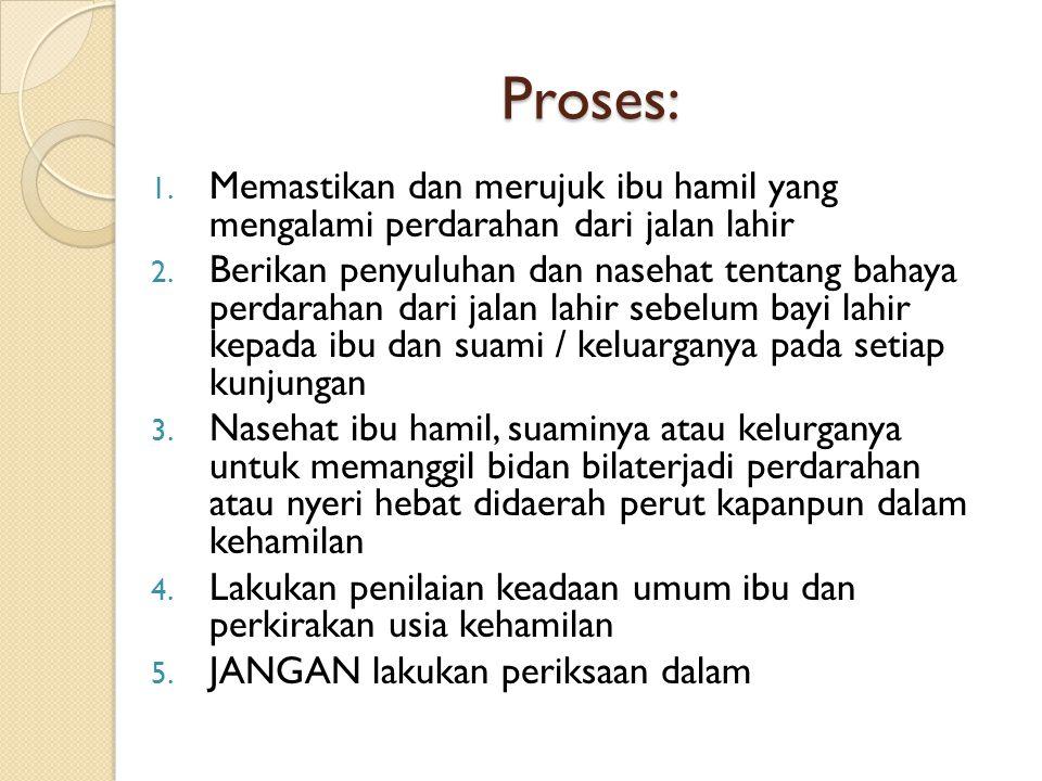 Proses: 1. Memastikan dan merujuk ibu hamil yang mengalami perdarahan dari jalan lahir 2. Berikan penyuluhan dan nasehat tentang bahaya perdarahan dar