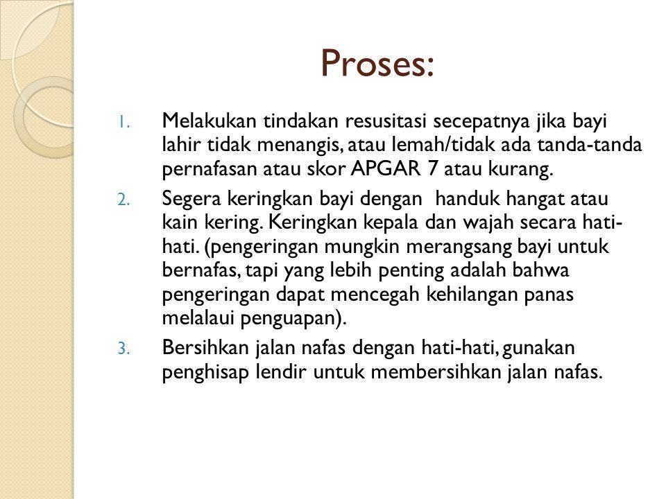 Proses: 1. Melakukan tindakan resusitasi secepatnya jika bayi lahir tidak menangis, atau lemah/tidak ada tanda-tanda pernafasan atau skor APGAR 7 atau