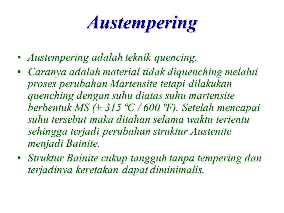 Austempering Austempering adalah teknik quencing.Austempering adalah teknik quencing. Caranya adalah material tidak diquenching melalui proses perubah