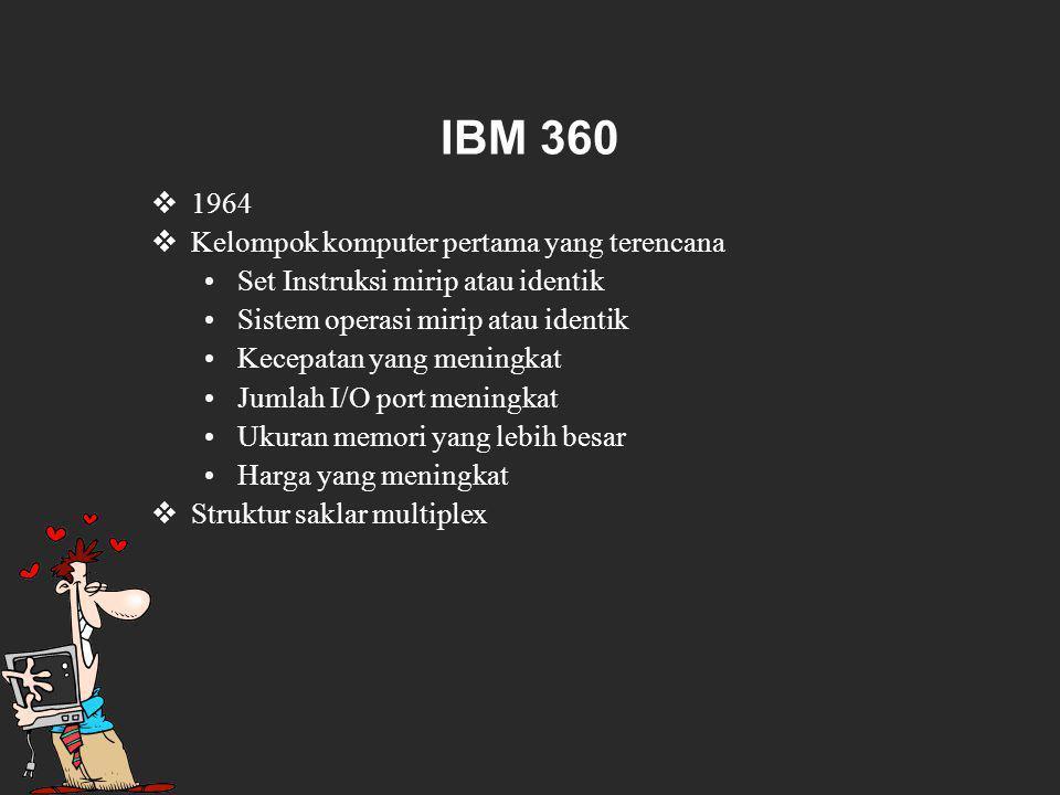 IBM 360  1964  Kelompok komputer pertama yang terencana Set Instruksi mirip atau identik Sistem operasi mirip atau identik Kecepatan yang meningkat