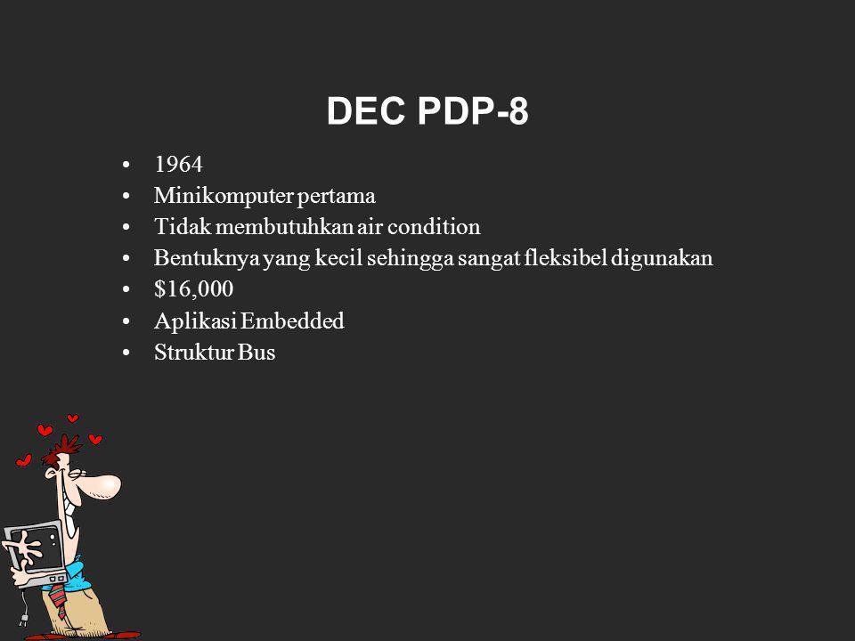 DEC PDP-8 1964 Minikomputer pertama Tidak membutuhkan air condition Bentuknya yang kecil sehingga sangat fleksibel digunakan $16,000 Aplikasi Embedded