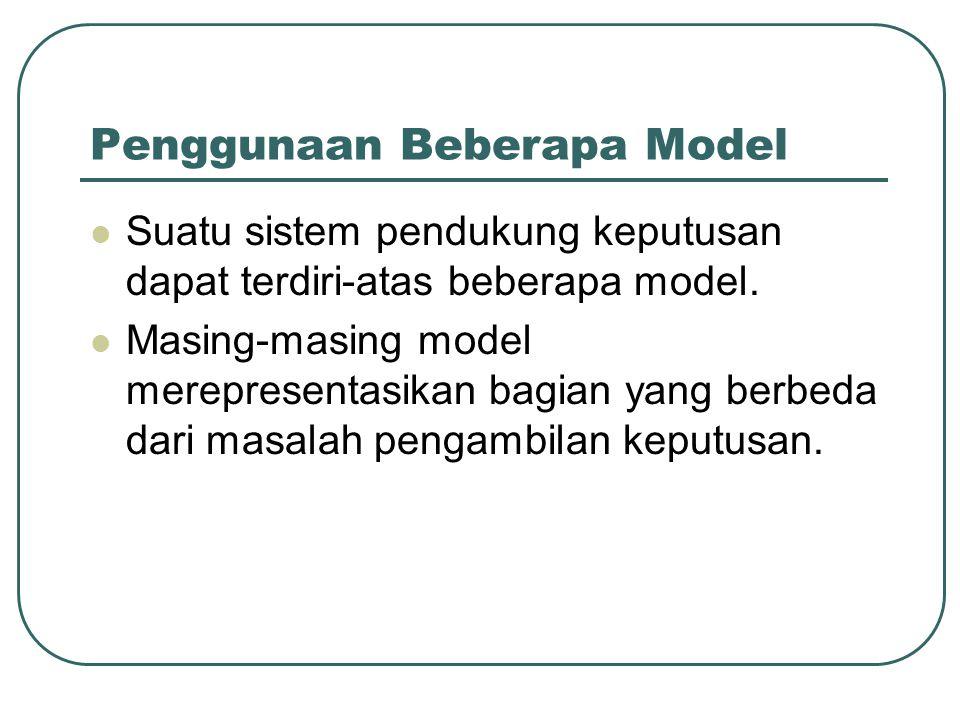 Penggunaan Beberapa Model Suatu sistem pendukung keputusan dapat terdiri-atas beberapa model. Masing-masing model merepresentasikan bagian yang berbed
