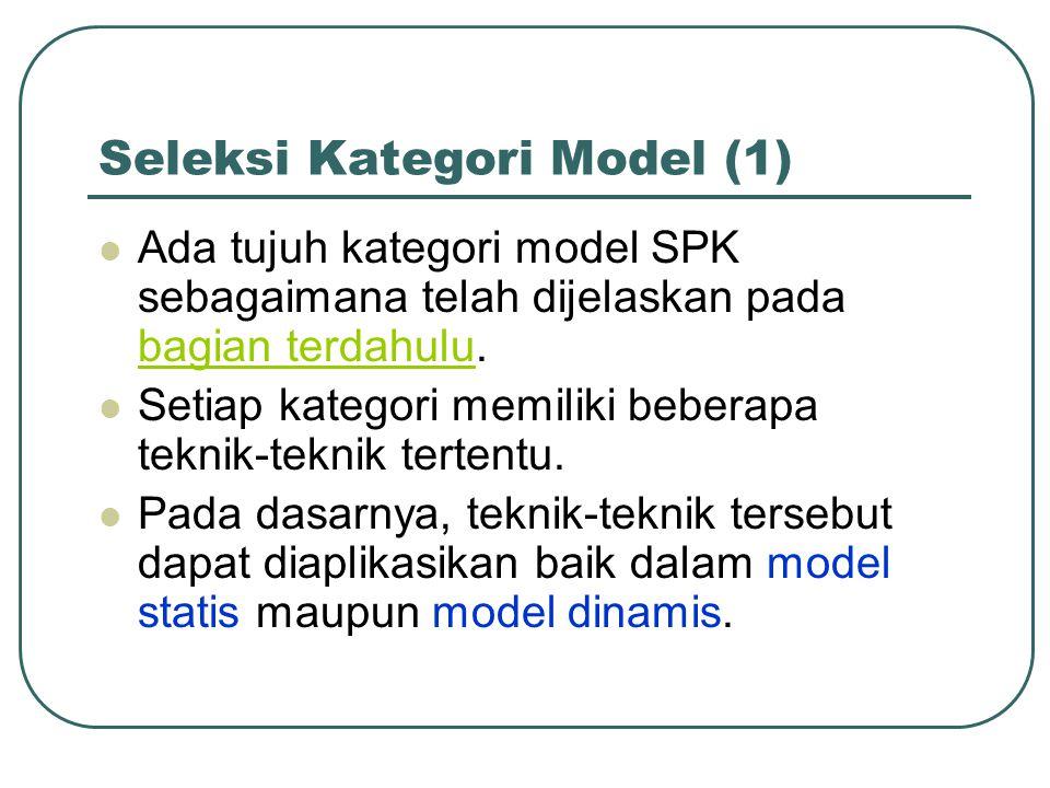 Seleksi Kategori Model (1) Ada tujuh kategori model SPK sebagaimana telah dijelaskan pada bagian terdahulu. bagian terdahulu Setiap kategori memiliki