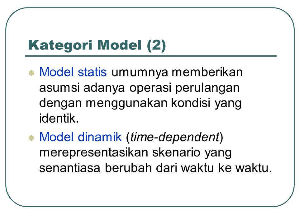 Kategori Model (2) Model statis umumnya memberikan asumsi adanya operasi perulangan dengan menggunakan kondisi yang identik. Model dinamik (time-depen