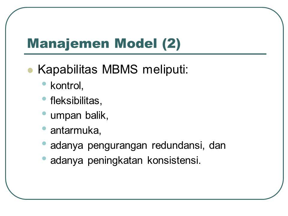 Manajemen Model (2) Kapabilitas MBMS meliputi: kontrol, fleksibilitas, umpan balik, antarmuka, adanya pengurangan redundansi, dan adanya peningkatan konsistensi.