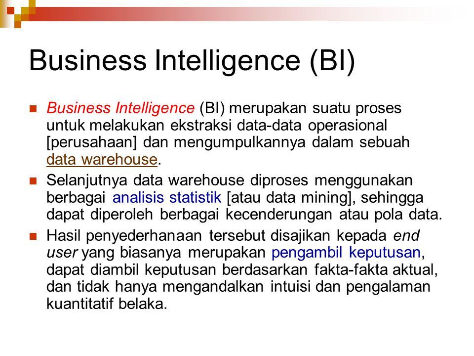 Business Intelligence (BI) Business Intelligence (BI) merupakan suatu proses untuk melakukan ekstraksi data-data operasional [perusahaan] dan mengumpulkannya dalam sebuah data warehouse.