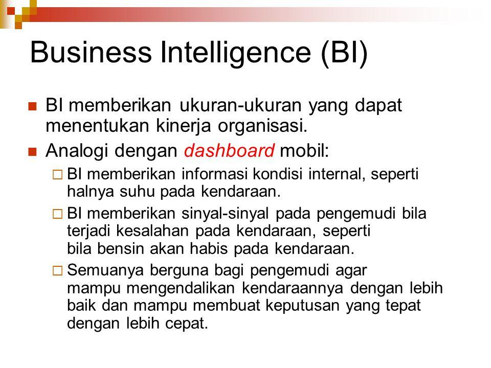 Business Intelligence (BI) BI memberikan ukuran-ukuran yang dapat menentukan kinerja organisasi. Analogi dengan dashboard mobil:  BI memberikan infor