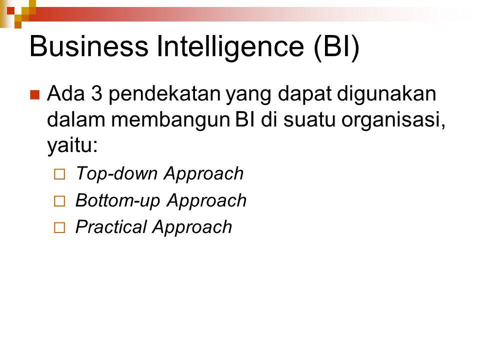 Business Intelligence (BI) Ada 3 pendekatan yang dapat digunakan dalam membangun BI di suatu organisasi, yaitu:  Top-down Approach  Bottom-up Approach  Practical Approach