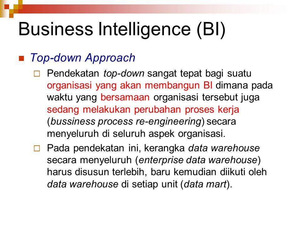 Business Intelligence (BI) Top-down Approach  Pendekatan top-down sangat tepat bagi suatu organisasi yang akan membangun BI dimana pada waktu yang bersamaan organisasi tersebut juga sedang melakukan perubahan proses kerja (bussiness process re-engineering) secara menyeluruh di seluruh aspek organisasi.