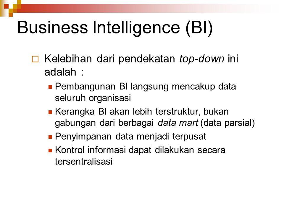 Business Intelligence (BI)  Kelebihan dari pendekatan top-down ini adalah : Pembangunan BI langsung mencakup data seluruh organisasi Kerangka BI akan lebih terstruktur, bukan gabungan dari berbagai data mart (data parsial) Penyimpanan data menjadi terpusat Kontrol informasi dapat dilakukan secara tersentralisasi
