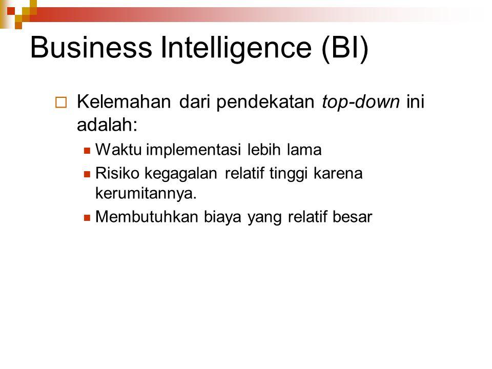 Business Intelligence (BI)  Kelemahan dari pendekatan top-down ini adalah: Waktu implementasi lebih lama Risiko kegagalan relatif tinggi karena kerum