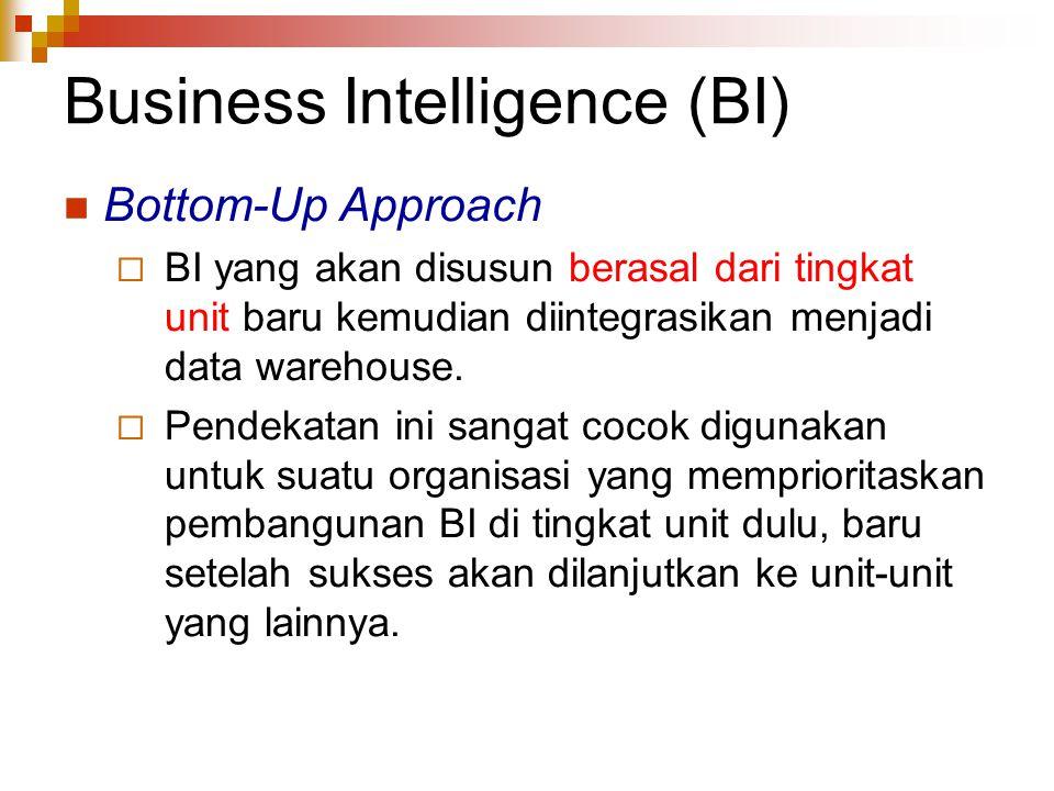 Business Intelligence (BI) Bottom-Up Approach  BI yang akan disusun berasal dari tingkat unit baru kemudian diintegrasikan menjadi data warehouse. 