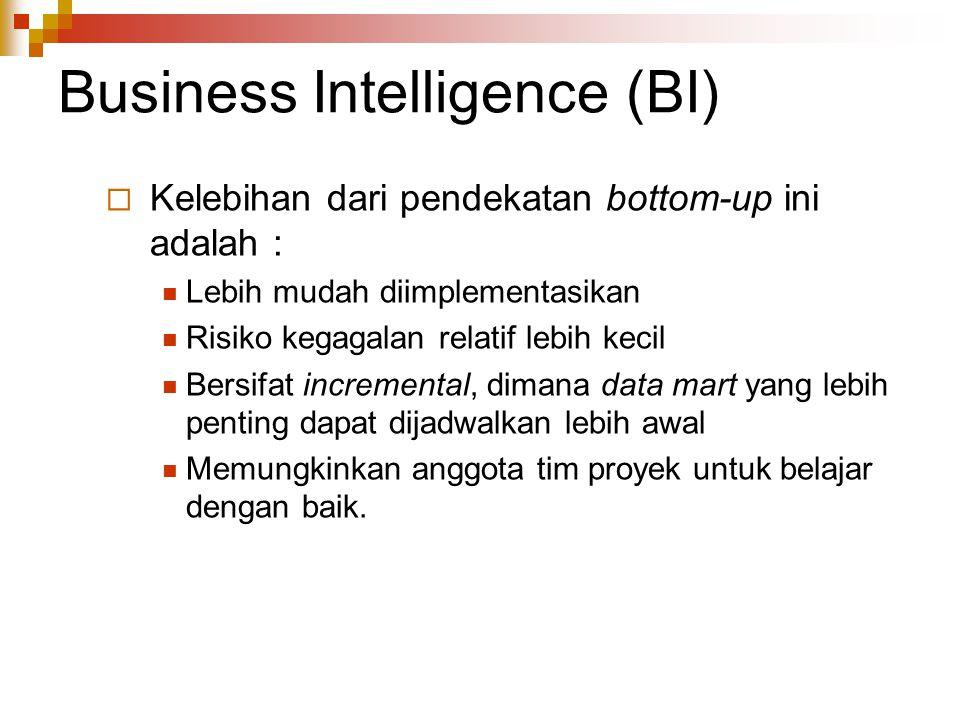 Business Intelligence (BI)  Kelebihan dari pendekatan bottom-up ini adalah : Lebih mudah diimplementasikan Risiko kegagalan relatif lebih kecil Bersifat incremental, dimana data mart yang lebih penting dapat dijadwalkan lebih awal Memungkinkan anggota tim proyek untuk belajar dengan baik.