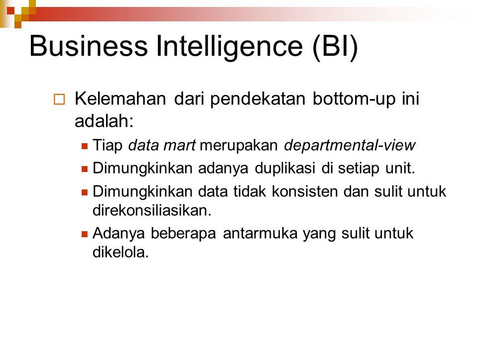 Business Intelligence (BI)  Kelemahan dari pendekatan bottom-up ini adalah: Tiap data mart merupakan departmental-view Dimungkinkan adanya duplikasi di setiap unit.