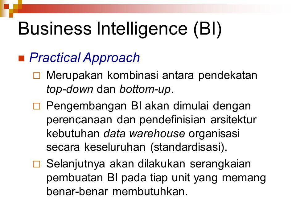 Business Intelligence (BI) Practical Approach  Merupakan kombinasi antara pendekatan top-down dan bottom-up.  Pengembangan BI akan dimulai dengan pe