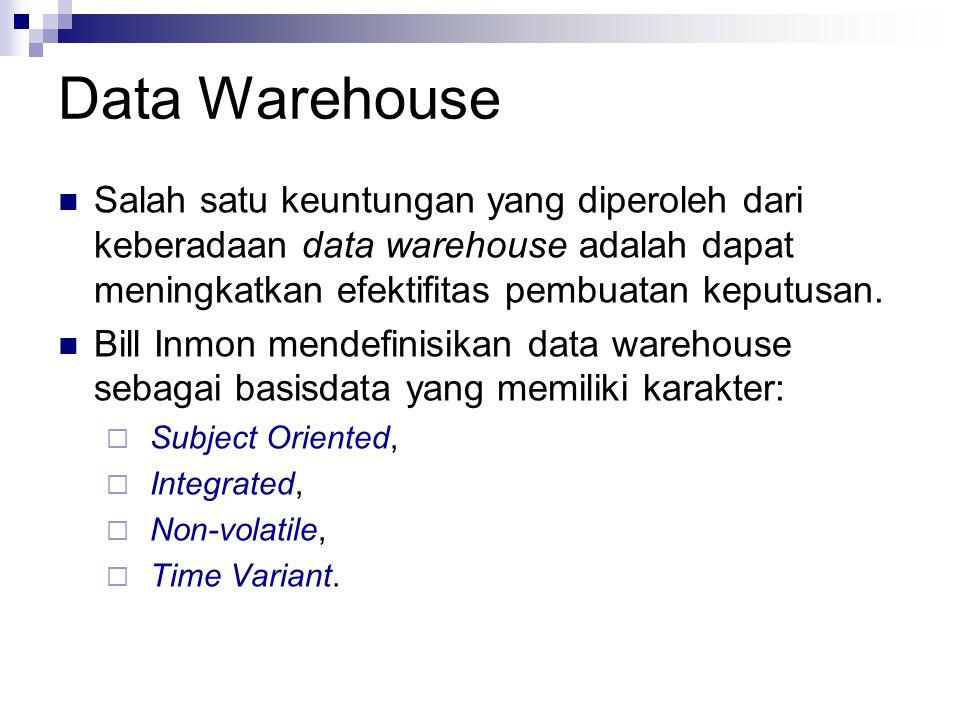 Data Warehouse Salah satu keuntungan yang diperoleh dari keberadaan data warehouse adalah dapat meningkatkan efektifitas pembuatan keputusan. Bill Inm