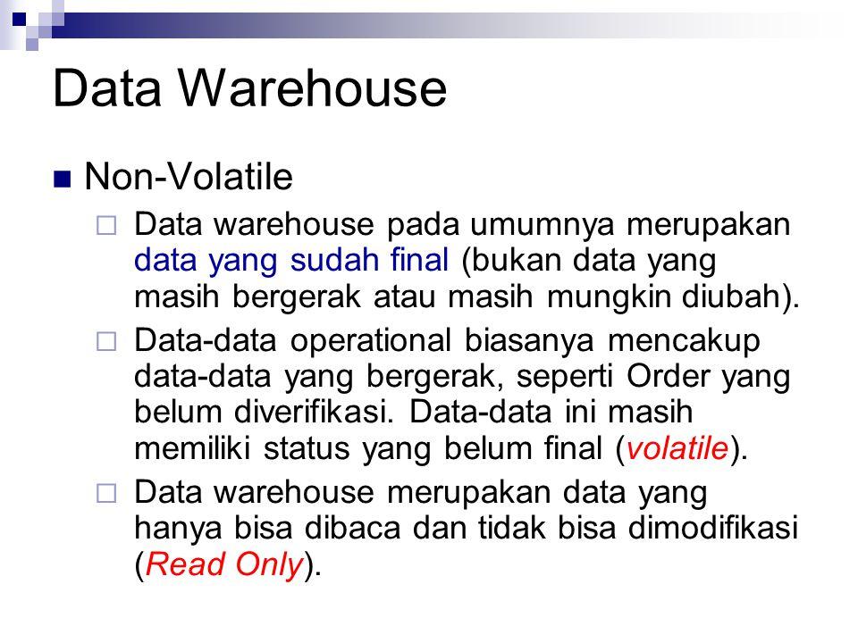 Data Warehouse Non-Volatile  Data warehouse pada umumnya merupakan data yang sudah final (bukan data yang masih bergerak atau masih mungkin diubah).