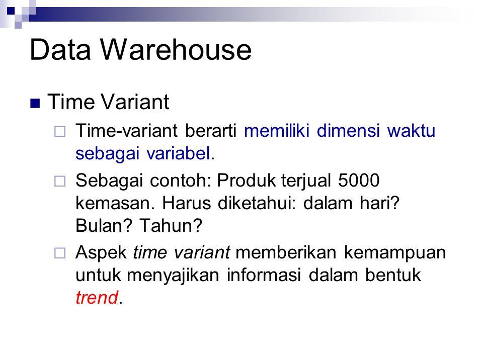 Data Warehouse Time Variant  Time-variant berarti memiliki dimensi waktu sebagai variabel.  Sebagai contoh: Produk terjual 5000 kemasan. Harus diket