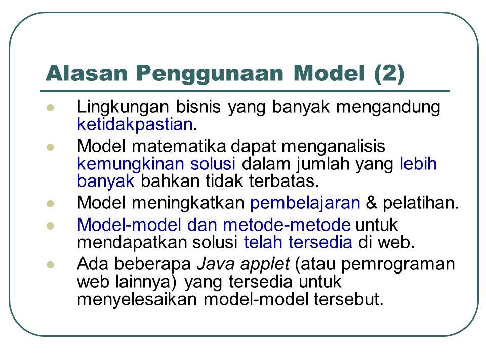 Alasan Penggunaan Model (2) Lingkungan bisnis yang banyak mengandung ketidakpastian. Model matematika dapat menganalisis kemungkinan solusi dalam juml