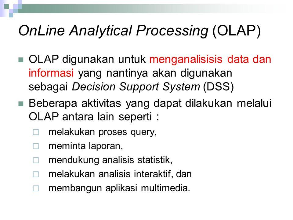 OnLine Analytical Processing (OLAP) OLAP digunakan untuk menganalisisis data dan informasi yang nantinya akan digunakan sebagai Decision Support System (DSS) Beberapa aktivitas yang dapat dilakukan melalui OLAP antara lain seperti :  melakukan proses query,  meminta laporan,  mendukung analisis statistik,  melakukan analisis interaktif, dan  membangun aplikasi multimedia.