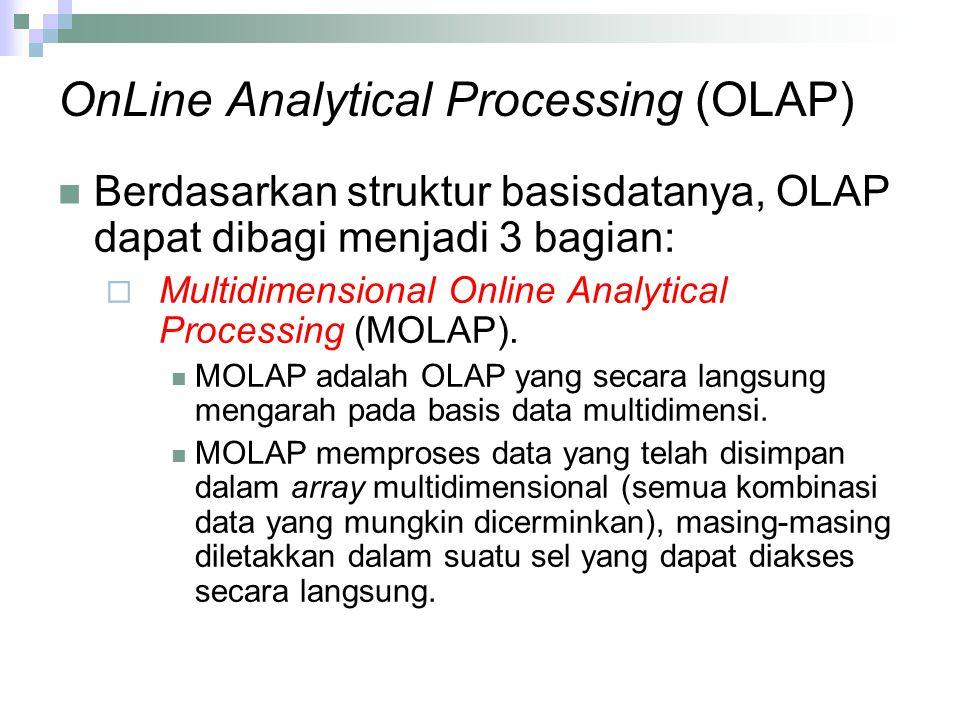 OnLine Analytical Processing (OLAP) Berdasarkan struktur basisdatanya, OLAP dapat dibagi menjadi 3 bagian:  Multidimensional Online Analytical Proces