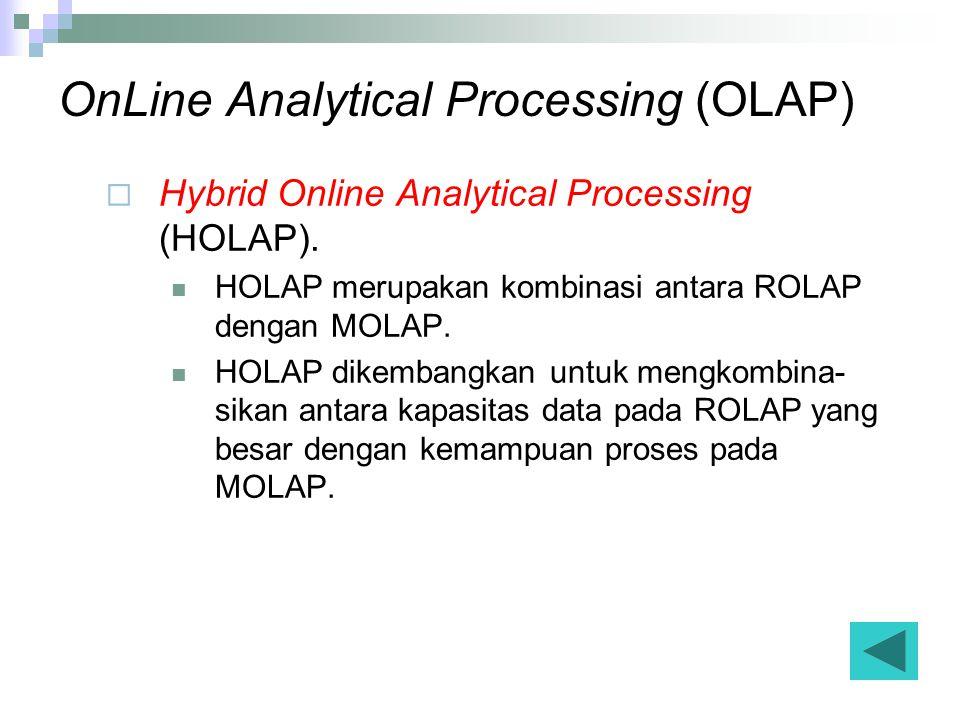OnLine Analytical Processing (OLAP)  Hybrid Online Analytical Processing (HOLAP).