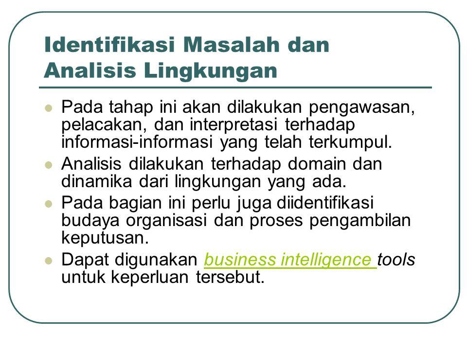 Identifikasi Masalah dan Analisis Lingkungan Pada tahap ini akan dilakukan pengawasan, pelacakan, dan interpretasi terhadap informasi-informasi yang t