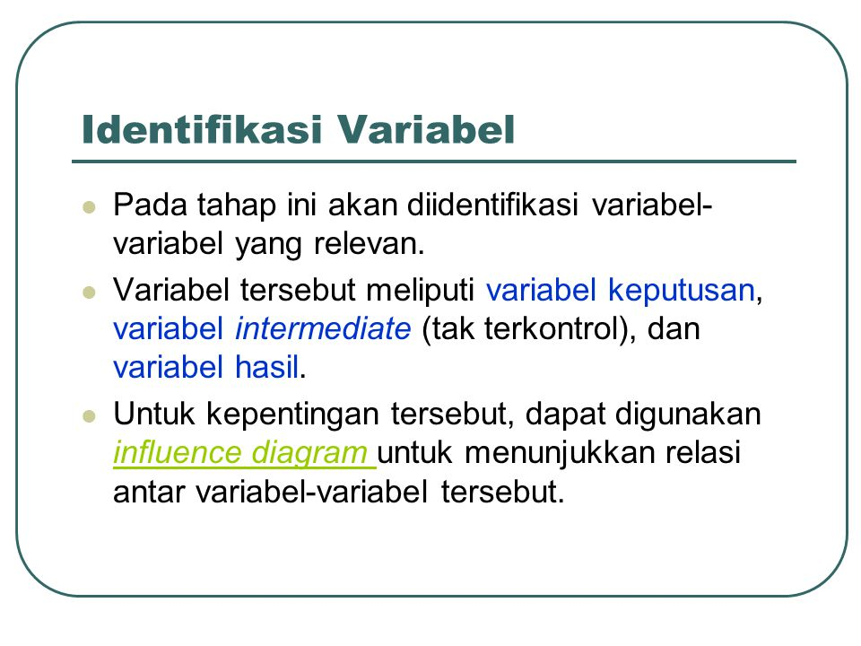 Identifikasi Variabel Pada tahap ini akan diidentifikasi variabel- variabel yang relevan. Variabel tersebut meliputi variabel keputusan, variabel inte