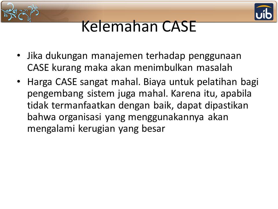 Kelemahan CASE Jika dukungan manajemen terhadap penggunaan CASE kurang maka akan menimbulkan masalah Harga CASE sangat mahal.