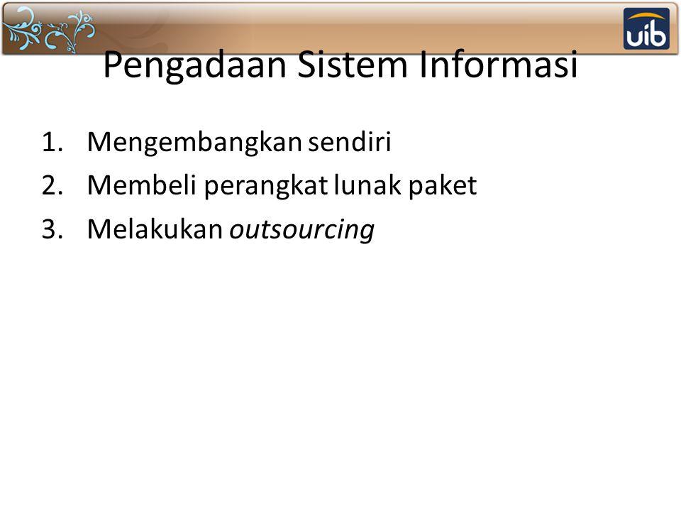Pengadaan Sistem Informasi 1.Mengembangkan sendiri 2.Membeli perangkat lunak paket 3.Melakukan outsourcing