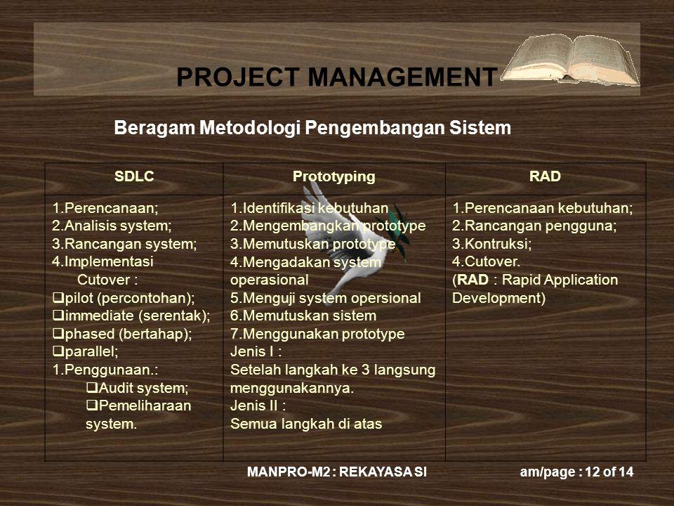 PROJECT MANAGEMENT MANPRO-M2 : REKAYASA SIam/page : 12 of 14 SDLCPrototypingRAD 1.Perencanaan; 2.Analisis system; 3.Rancangan system; 4.Implementasi C