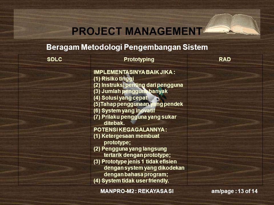 PROJECT MANAGEMENT MANPRO-M2 : REKAYASA SIam/page : 13 of 14 SDLCPrototypingRAD IMPLEMENTASINYA BAIK JIKA : (1) Risiko tinggi (2) Instruksi penting da