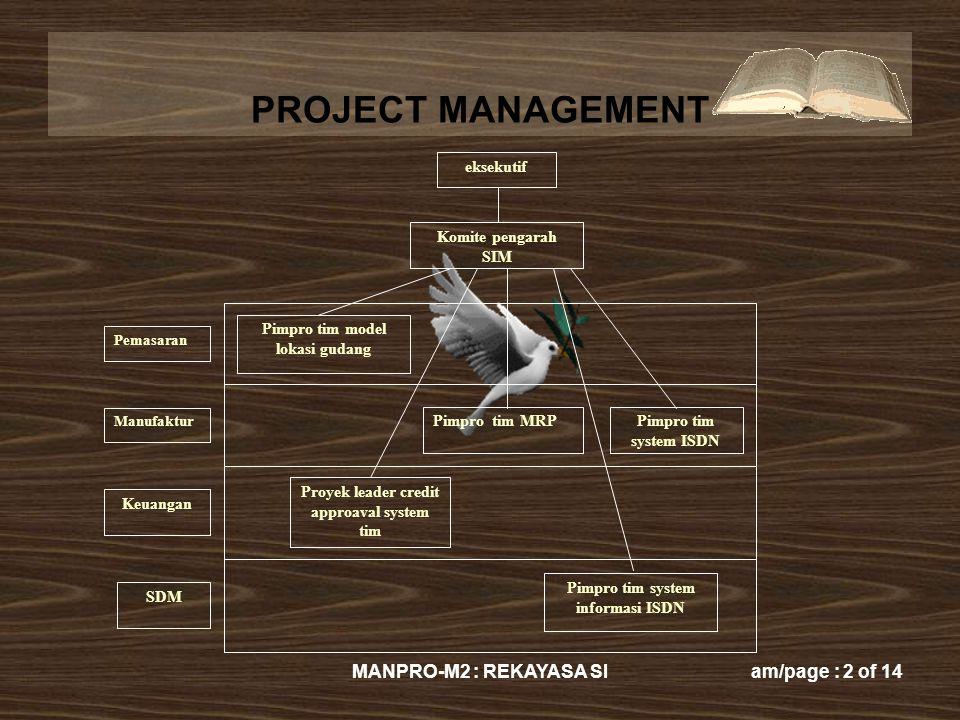 PROJECT MANAGEMENT MANPRO-M2 : REKAYASA SIam/page : 2 of 14 eksekutif Komite pengarah SIM Pimpro tim model lokasi gudang Pimpro tim MRPPimpro tim syst
