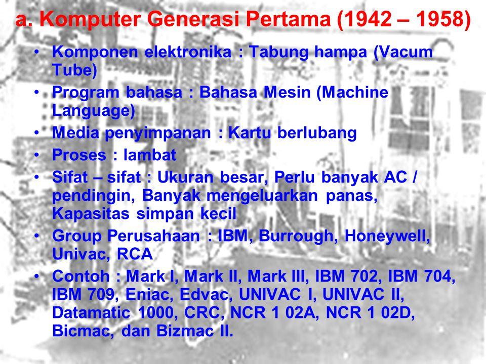 a. Komputer Generasi Pertama (1942 – 1958) Komponen elektronika : Tabung hampa (Vacum Tube) Program bahasa : Bahasa Mesin (Machine Language) Media pen