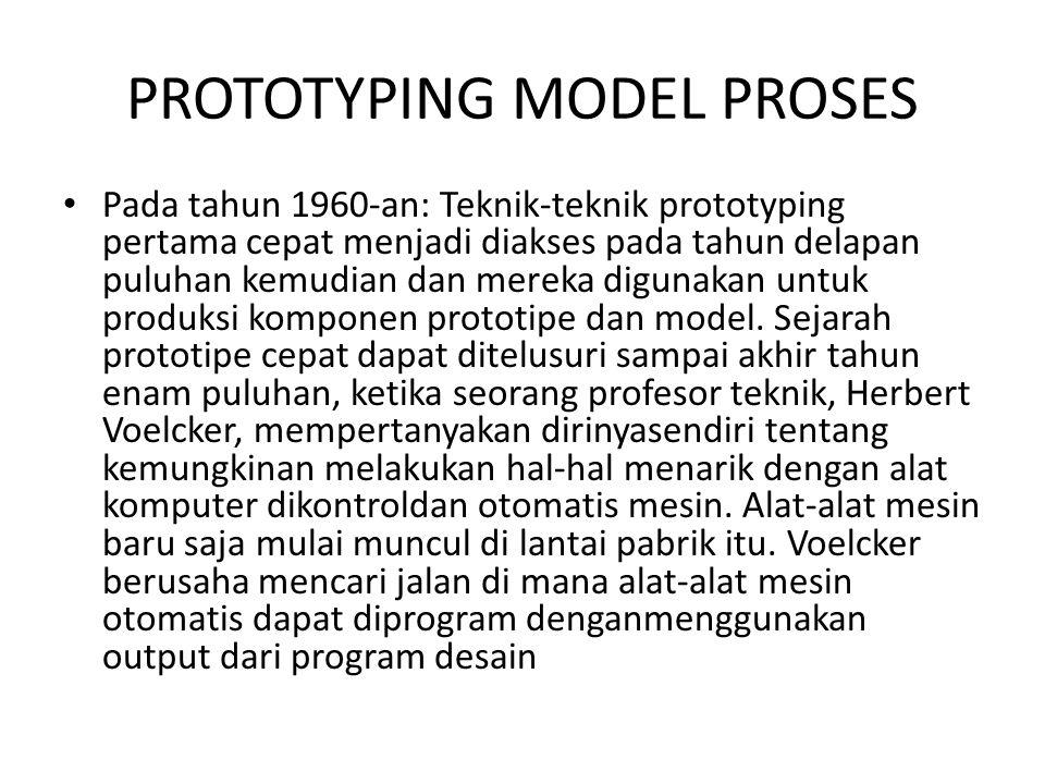 PROTOTYPING MODEL PROSES Pada tahun 1960-an: Teknik-teknik prototyping pertama cepat menjadi diakses pada tahun delapan puluhan kemudian dan mereka di