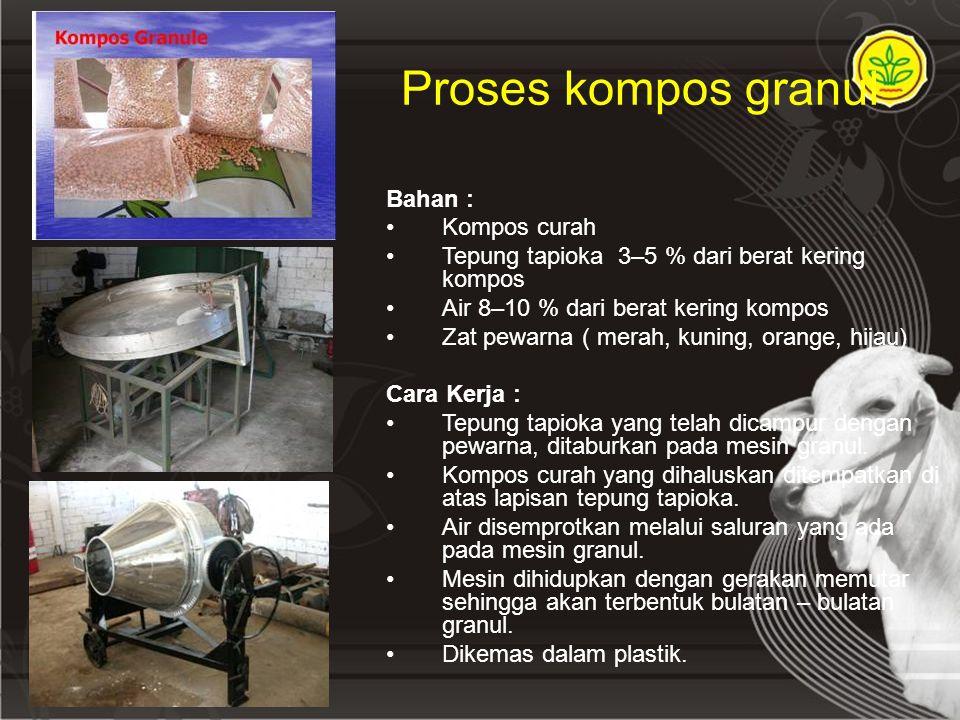 Proses kompos granul Bahan : Kompos curah Tepung tapioka 3–5 % dari berat kering kompos Air 8–10 % dari berat kering kompos Zat pewarna ( merah, kunin