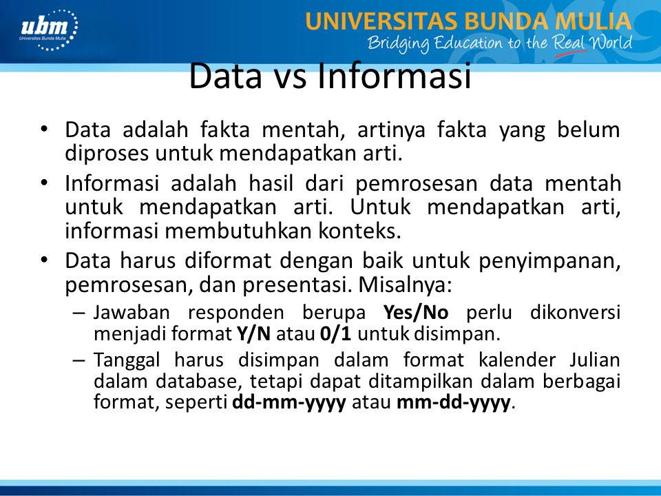 Data vs Informasi Data adalah fakta mentah, artinya fakta yang belum diproses untuk mendapatkan arti. Informasi adalah hasil dari pemrosesan data ment