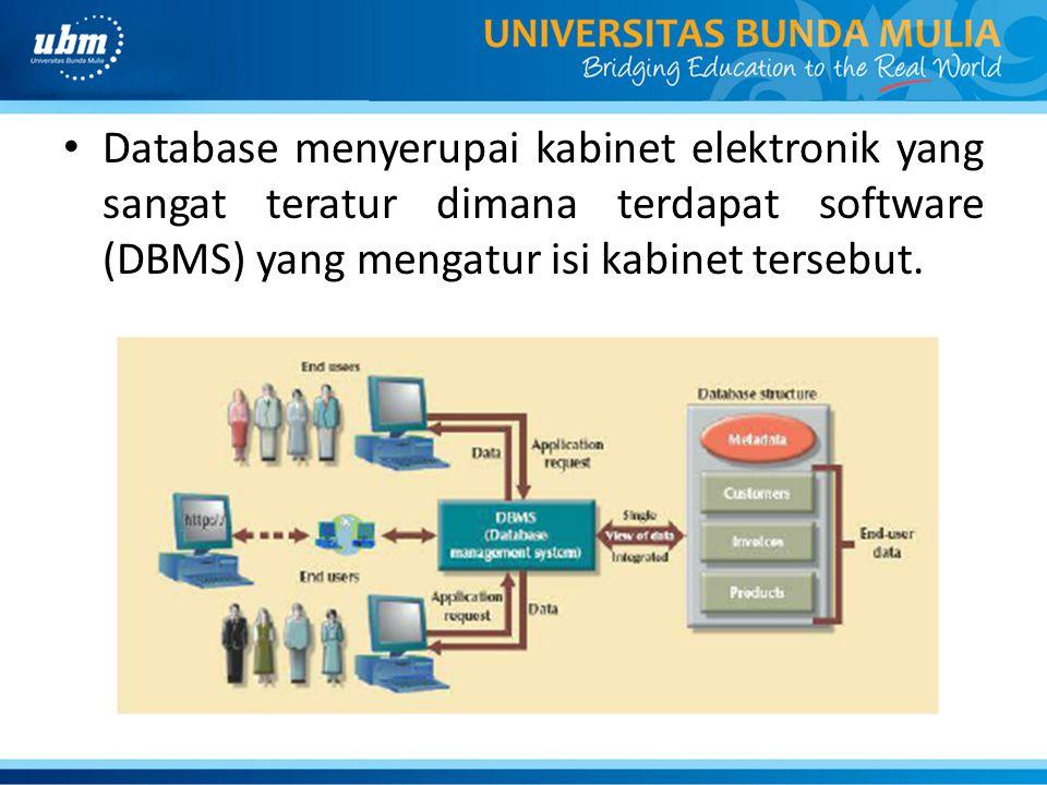 Database menyerupai kabinet elektronik yang sangat teratur dimana terdapat software (DBMS) yang mengatur isi kabinet tersebut.