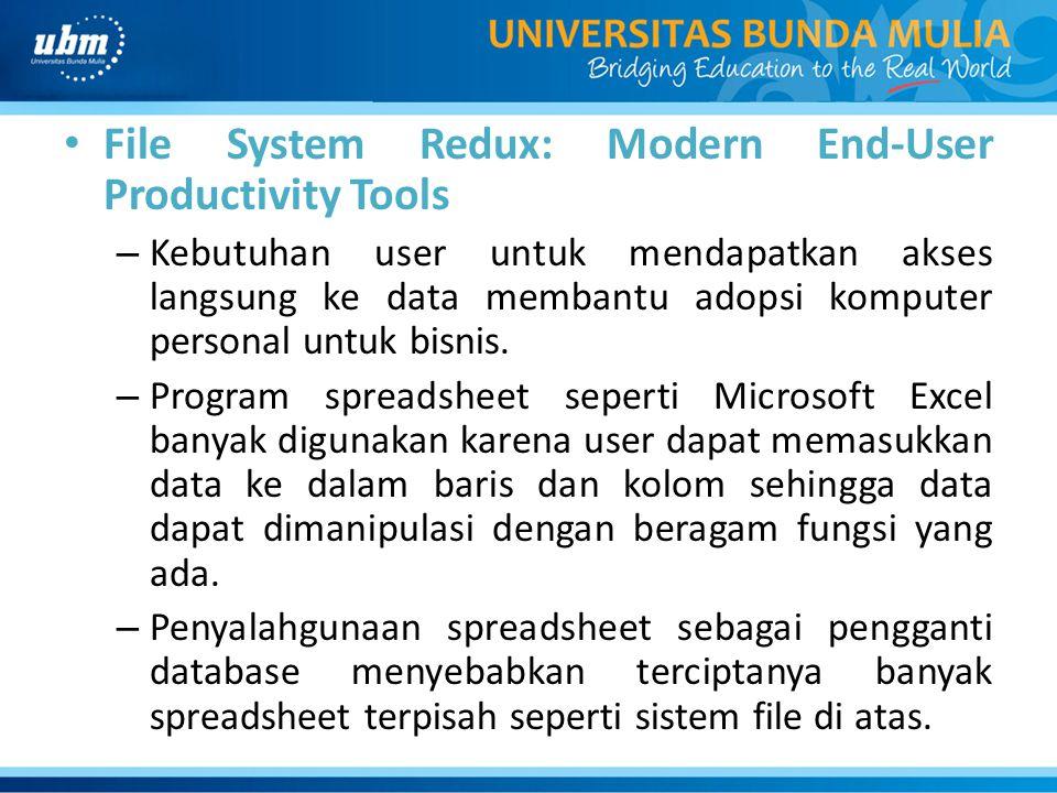 File System Redux: Modern End-User Productivity Tools – Kebutuhan user untuk mendapatkan akses langsung ke data membantu adopsi komputer personal untu